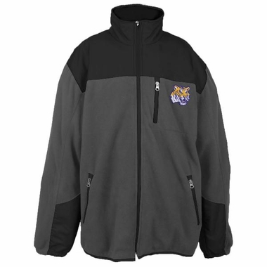 LSU Poly Dobby Full Zip Polar Fleece Jacket (Charcoal)