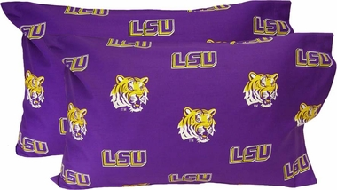 LSU Printed Pillow Case - (Set of 2) - Solid