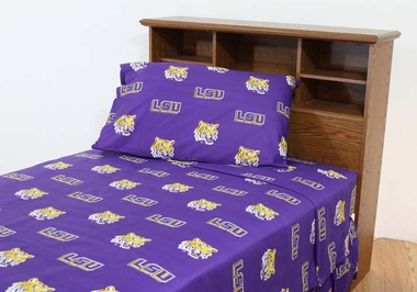 LSU Printed Sheet Set King - Solid