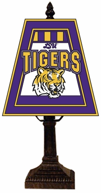 LSU Small Art Glass Lamp