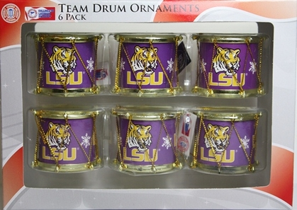 LSU Tigers 2012 Plastic Drum 6 Pack Ornament Set