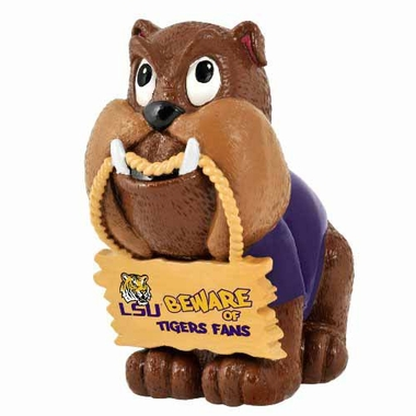 LSU Tigers Bulldog Holding Sign Figurine
