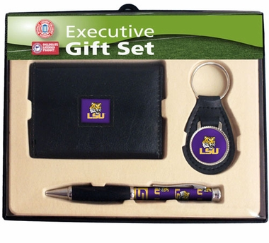 LSU Trifold Wallet Key Fob and Pen Gift Set