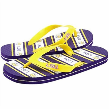 LSU Unisex Striped Flip Flops