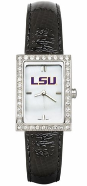 LSU Women's Black Leather Strap Allure Watch