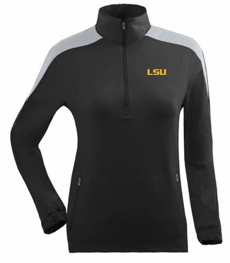 LSU Womens Succeed 1/4 Zip Performance Pullover (Team Color: Black)
