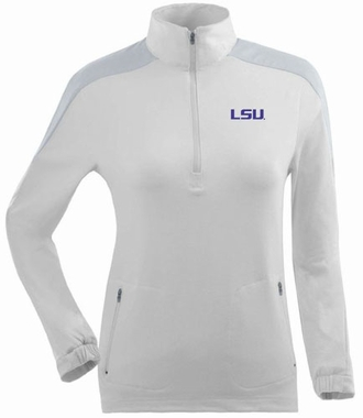 LSU Womens Succeed 1/4 Zip Performance Pullover (Color: White)