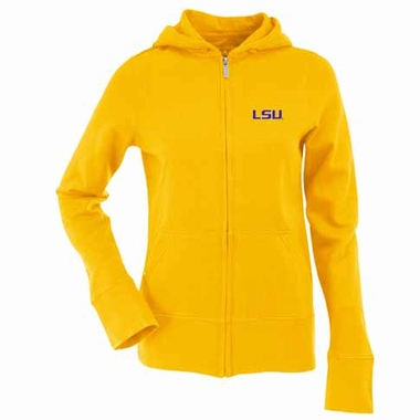 LSU Womens Zip Front Hoody Sweatshirt (Color: Gold)