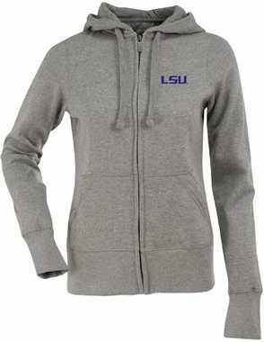 LSU Womens Zip Front Hoody Sweatshirt (Color: Gray)