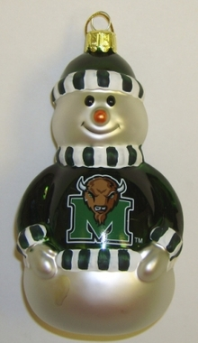 Marshall Blown Glass Snowman Ornament