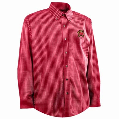 Maryland Mens Esteem Check Pattern Button Down Dress Shirt (Team Color: Red)