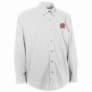 Maryland Mens Esteem Check Pattern Button Down Dress Shirt (Color: White)