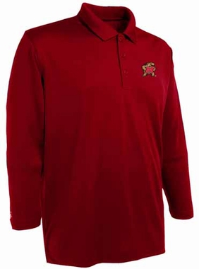 Maryland Mens Long Sleeve Polo Shirt (Color: Red)