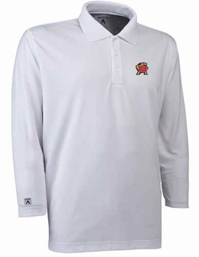 Maryland Mens Long Sleeve Polo Shirt (Color: White)