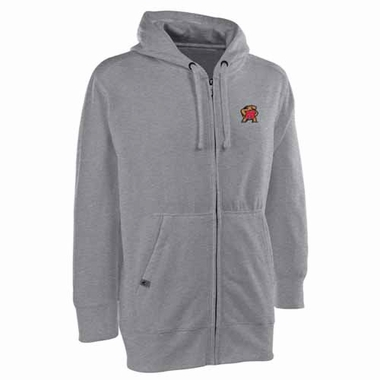 Maryland Mens Signature Full Zip Hooded Sweatshirt (Color: Gray)