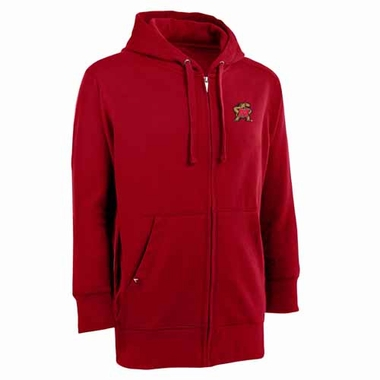 Maryland Mens Signature Full Zip Hooded Sweatshirt (Color: Red)
