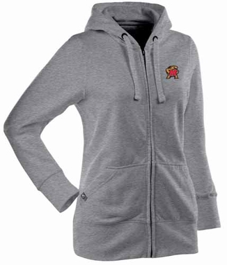 Maryland Womens Zip Front Hoody Sweatshirt (Color: Gray)