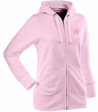 Maryland Womens Zip Front Hoody Sweatshirt (Color: Pink)