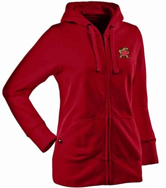 Maryland Womens Zip Front Hoody Sweatshirt (Team Color: Red)