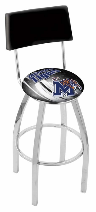 Memphis 30 Inch L8c4 Chrome With Back Bar Stool