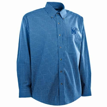 Memphis Mens Esteem Check Pattern Button Down Dress Shirt (Team Color: Royal)