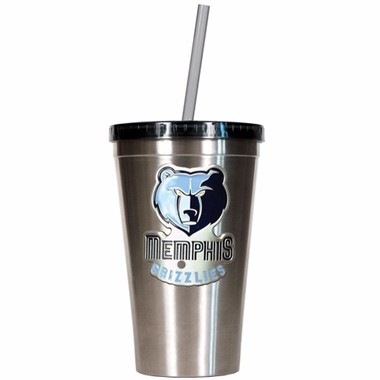 Memphis Grizzlies 16oz Stainless Steel Insulated Tumbler with Straw
