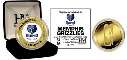 Memphis Grizzlies MEMPHIS GRIZZLIES 24KT GOLD AND COLOR TEAM COIN