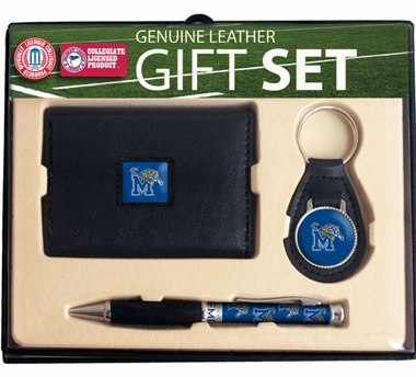 Memphis Trifold Wallet Key Fob and Pen Gift Set
