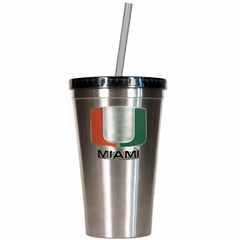 Miami 16oz Stainless Steel Insulated Tumbler with Straw