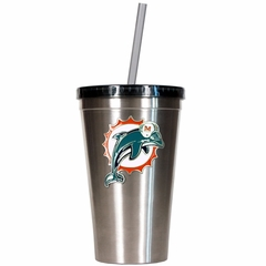 Miami Dolphins 16oz Stainless Steel Insulated Tumbler with Straw