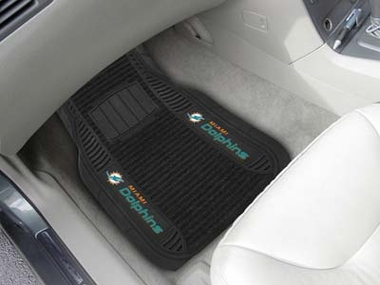 Miami Dolphins 2 Piece Heavy Duty DELUXE Vinyl Car Mats