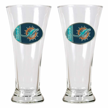 Miami Dolphins 2 Piece Pilsner Glass Set