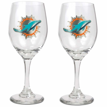 Miami Dolphins 2 Piece Wine Glass Set