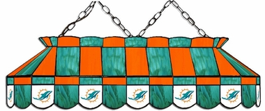 Miami Dolphins 40 Inch Rectangular Stained Glass Billiard Light