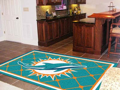 Miami Dolphins 5 Foot x 8 Foot Rug