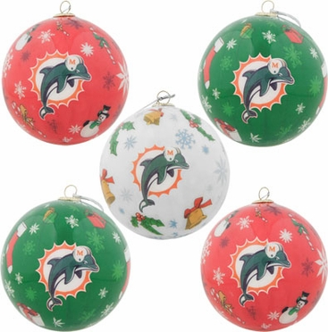 Miami Dolphins 5 Pack Decoupage Ball Ornament Set