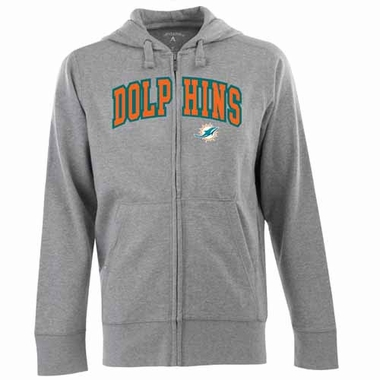 Miami Dolphins Mens Applique Full Zip Hooded Sweatshirt (Color: Gray)