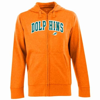 Miami Dolphins Mens Applique Full Zip Hooded Sweatshirt (Team Color: Orange)