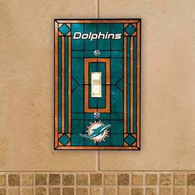 Miami Dolphins Art Glass Lightswitch Cover