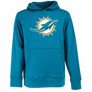 Miami Dolphins Big Logo Mens Signature Hooded Sweatshirt (Alternate Color: Teal) - Medium