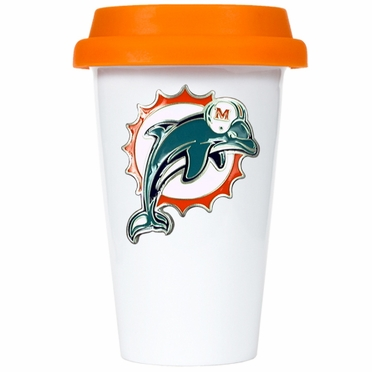 Miami Dolphins Ceramic Travel Cup (Team Color Lid)