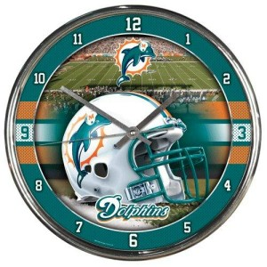 Miami Dolphins Round Chrome Wall Clock