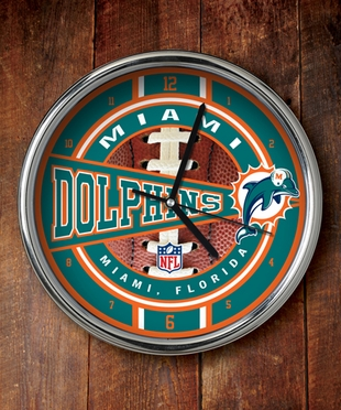 Miami Dolphins Chrome Clock
