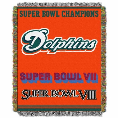Miami Dolphins Commerative Jacquard Woven Blanket