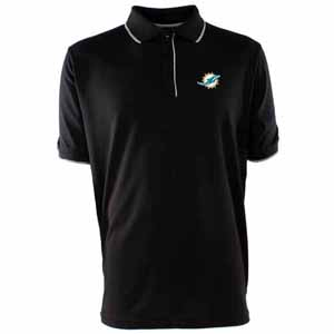 Miami Dolphins Mens Elite Polo Shirt (Team Color: Black) - Medium