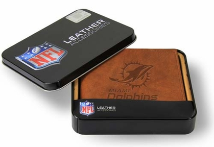 Miami Dolphins Embossed Leather Bifold Wallet