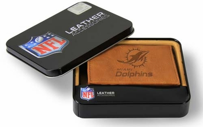 Miami Dolphins Embossed Leather Trifold Wallet