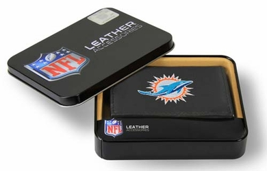Miami Dolphins Embroidered Leather Tri-Fold Wallet