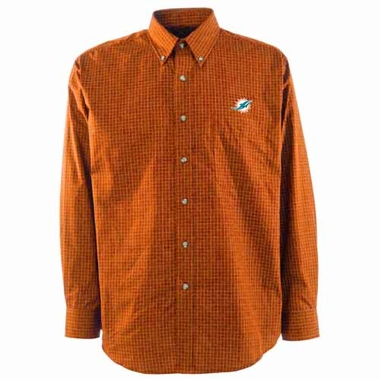 Miami Dolphins Mens Esteem Check Pattern Button Down Dress Shirt (Team Color: Orange)