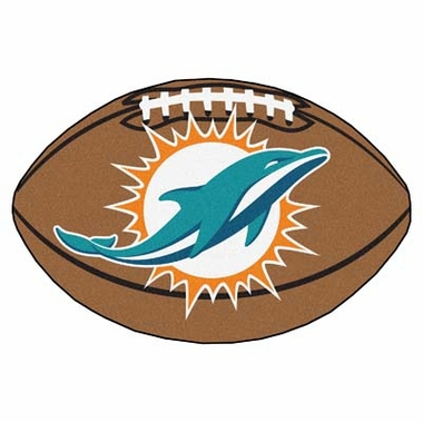 Miami Dolphins Football Shaped Rug